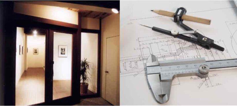 プロフィールの建築現場と図面の画像